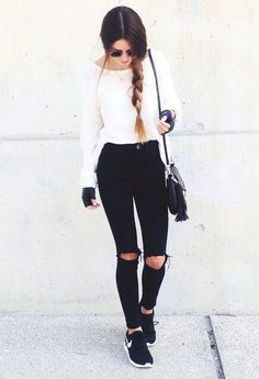 Minus the gym gloves! White jumper, black ripped jeans, nikes #casual #minimal…