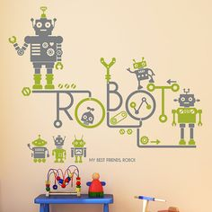 Hey, I found this really awesome Etsy listing at https://www.etsy.com/listing/159013597/wall-point-art-mural-decor-sticker-robot