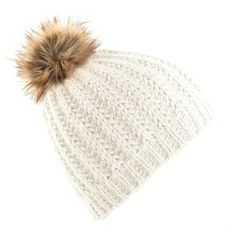 Beechfield Ladies/Womens Faux Fur Pom Pom Winter Beanie ($5.70) ❤ liked on Polyvore featuring accessories, hats, pom pom beanie, beanie cap, pompom hat, faux fur hat and pom beanie