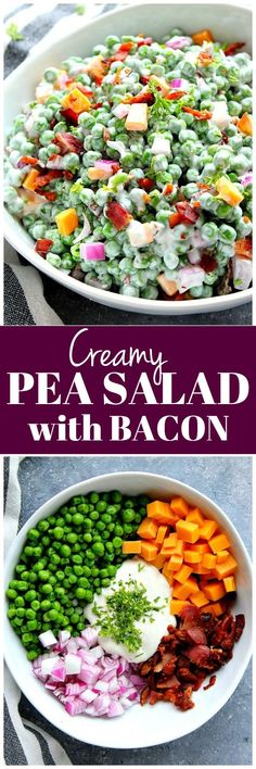Creamy Pea Salad with Bacon - green peas, cheddar, red onion and bacon tossed with light Ranch dressing. Great summer side dish for potlucks! #salad #vegetarian