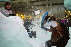 The world's largest snowball fight, from earlier this year in Seattle, WA
