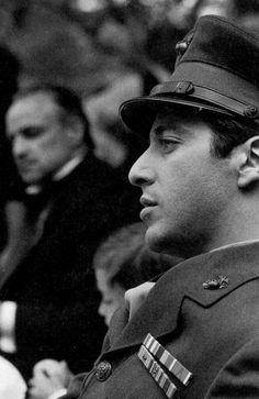 Al Pacino (Michael Corleone) and Marlon Brando (Don Vito Corleone) in 'The Godfather', dir. Marlon Brando, Steve Mcqueen, Robert Downey Jr, Young Al Pacino, The Godfather Wallpaper, Don Corleone, Corleone Family, Godfather Movie, Brando Godfather