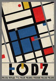 Lodz -Hommage a Katarzyna Kobro and Wladyslaw Strzeminski  Check also other posters from PLAKAT-POLSKA series  Original Polish poster  designer: Ryszard Kaja  year: 2013
