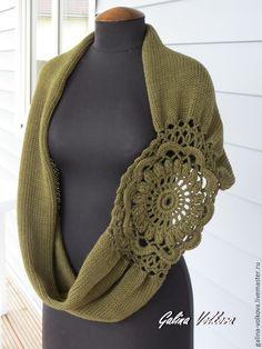 Купить Вязаный шарф хомут снуд накидка Темный оливковый - хаки, оливковый, шарф