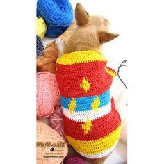 Colorful Diamond Unique Crocheted Dog Sweater DK869 by Myknitt