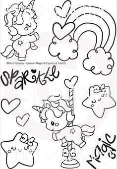 Unicorn Magic by Not 2 Shabby perfect for the crafter who loves card making and scrapbooking! Doodle Drawings, Doodle Art, Cute Drawings, Cute Coloring Pages, Coloring Books, Unicorn Drawing, Kawaii Doodles, Cute Clipart, Embroidery Patterns