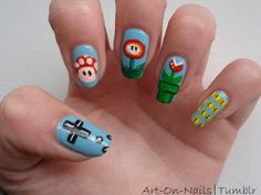 Mario Nails themed nail art but do as face paint instead of on nails for the little ones.