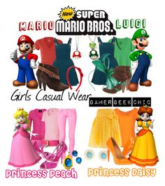 """""""Super Mario Bros. - Mario, Luigi, Princess Peach, & Princess Daisy"""" by gamer-geek-chic ❤ liked on Polyvore featuring AMY GEE, Topshop, Patagonia, Chinese Laundry, ..,MERCI, Dorothy Perkins, GUESS, L.A.M.B., Planet and Salvatore Ferragamo"""