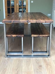 22 best chunky dining table images on pinterest chunky dining industrial dining table reclaimed wood scaffold rustic dining table set with bench or benches chunky industrial unique metal leg watchthetrailerfo
