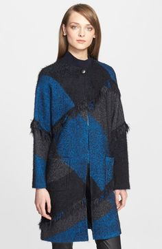 St. John Collection Fringe Trim Plaid Knit Topper available at #Nordstrom