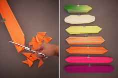 Cortando as tiras de papel crepom