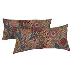 Check out this item at One Kings Lane! Floral Art Deco Lumbar Pillows, Pair
