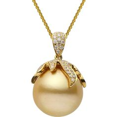 Nature Golden South Sea Cultured Pearl Pearl Quality AAA Luster AAA, Excellent Nacre Very Thick Jewelry Style Pendant Metal Purity 18K Metal