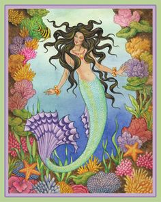 Fantasy and traditional art focusing on graceful figures of fairies and mermaids Fantasy Mermaids, Real Mermaids, Mermaids And Mermen, Mermaid Artwork, Mermaid Drawings, Mermaid Paintings, Mermaid Coloring Book, Coloring Book Art, Mermaid History