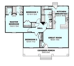 Cottage Style House Plan - 3 Beds 2 Baths 1260 Sq/Ft Plan #44-175 Floor Plan…