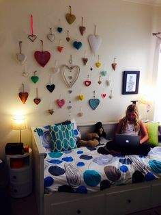 Girls Bedroom, Hemnes daybed, componbilli, heart wall