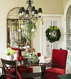 Easy & Elegant:   Make Christmas decorating a snap by simply adding ready-made holiday items to your decor. Tie ornaments on lengths of ribbon and suspend from a chandelier, along with a few greenery boughs trimmed from your tree. A tiered cake plate becomes a festive centerpiece when crowned with ornaments, greenery, and pinecones.  Editor's Tip: Plan ahead for next year. Purchase red or green slipcovers, pillows, and glassware at after-Christmas sales. You'll be able to add bursts of…