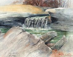 Tryst Falls, Missouri - print of original watercolor by Cathy Johnson on Etsy, $35.00