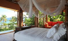 Luxury in Thailand - Soneva Kiri, Koh Kood Resort.I can picture myself tokin' and relaxin' in that bed ; Bungalow, Cama King, Koh Chang, Rustic Luxe, Best Resorts, Luxury Resorts, Luxury Holidays, My Room, Interior Design