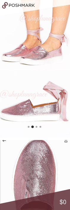 Coming Soon/ Clover Canyon Shoes Pink lame slip on shoes with ankle tie straps. Clover Canyon Shoes Sneakers