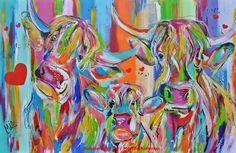 kunstenares Mir  Mirthe Kolkman art kunst dieren schotse hooglanders kleurrijk kunstwerk schilderijen scotisch highlanders colourful artworks animal dier lange haren hartjes