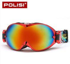 POLISI Ski Snow Goggles Anti-Fog Lens Snowboard Snowboarding Glasses Protective Sports Eyewear UV Protection Motocross Goggles