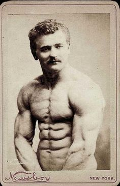 Eugene Sandow famous strongman during the 19th century.  He is given credit to beginning modern day bodybuilding.  Taken in 1893.