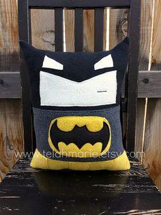 Batman pillow plush cushion gift by telahmarie on Etsy, $30.00