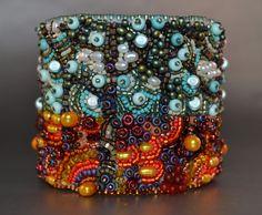 Late Autumn Bead Embroidery Cuff Bracelet- bead embroidered cuff bracelet MADE TO ORDER. $225.00, via Etsy.