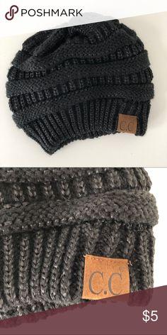 8d6c0f16002 C. C Winter Hat Black hat with lurex and leather patch C.C Accessories Hats