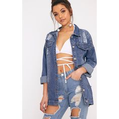 Bay Mid Wash Dome Stud Distress Denim Jacket (€47) ❤ liked on Polyvore featuring outerwear, jackets, mid blue wash, studded jacket, distressed jacket, jean jacket, blue jackets and studded jean jacket