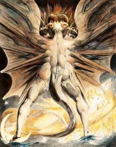 William Blake (1757-1827), The Great Red Dragon and the Woman Clothed with the Sun, about 1803-1805, Watercolor, graphite and incised lines 43,7 × 34,8 cm, Brooklyn Museum, Gift of William Augustus White.