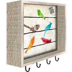 Perfect for hanging keys or accessories, this delightful wall rack features 4 hooks and showcases a charming bird and carte postale motif. Product: Wall rack Construction Material: Paper, reclaimed wood, and metal Color: Natural Features: Rustic Flowers, Colorful Wall Art, Wall Racks, Art Object, Joss And Main, Bird Cage, Bird Watching, Bird Feathers, Cool Art