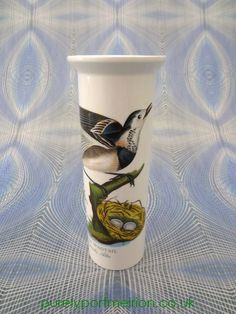 Portmeirion Birds Of Britain Vintage Serif Vase No3 Wagtail