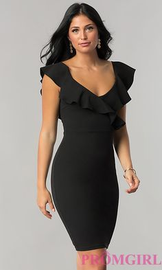 V-Neck Short Wedding-Guest Party Dress with RuffleImage of knee-length wedding-guest dress with ruffled v-neck Style: Front Image Would prefer in diff color tho Mom Dress, Dress Skirt, Short Wedding Guest Dresses, Bodycon Dress Formal, Dress Outfits, Fashion Dresses, Black Midi Dress, Classy Dress, Beautiful Dresses
