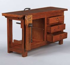Industrial / Work Table - Carpenter Workbench French Iron, Elm, Pine French Carpenter's Workbench in Elm, For Sale