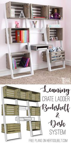 Leaning Crate Ladder Bookshelf and Desk - Her Tool Belt Free plans to build an easy leaning crate ladder bookshelf and desk system for kids. The crates are Crate Desk, Crate Shelves, Crate Furniture, Diy Furniture Plans Wood Projects, Easy Woodworking Projects, Woodworking Furniture, Woodworking Plans, Furniture Makers, Furniture Ideas