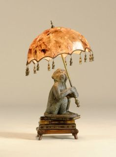 Books with Monkey and Parasol Table Lamp in Bronze and Penshell by Maitland Smith Furniture
