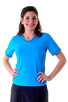Product review for HydroChic Women's V-Neck Swim Shirt – Chlorine Proof Rash Guard.  - HydroChic Women's V-Neck Swim Shirt You'll look fabulous in the best selling Adventure Chic top from HydroChic. This stylish, modest v-neck swimsuit shirt hides the right areas and will be your favorite top to wear outside or when water exercising. Swim, kayak, hike, surf and workout...