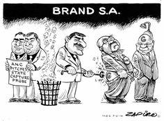 Zapiro illustrates the rebranding of South Africa. Jacob Zuma, African History, Comic Strips, Jokes, Cartoons, Funny, South Africa, Desktop, Cartoon