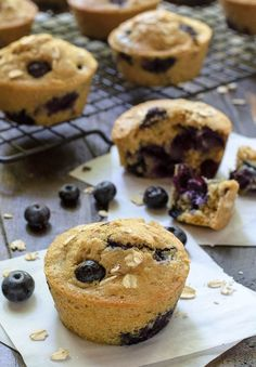 The best ever blueberry muffins! You'll love this healthy blueberry muffin recipe made with oats and cinnamon from @WellPlated