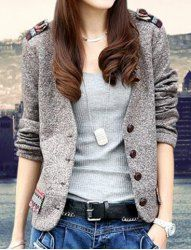 $14.12 Retro Style Slimming Color Block Long Sleeves Single-Breasted Jacket For Women