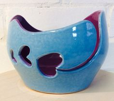 Yarn Bowl glazed in Sky blue and purple with by EarthWoolFire, £45.00