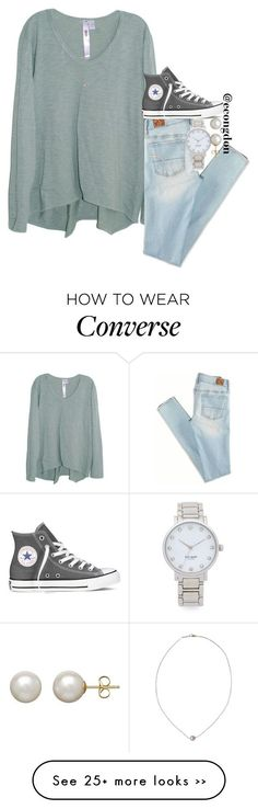 """grey converse"" by econgdon on Polyvore featuring Wilt, American Eagle Outfitters, Converse, Kate Spade, Honora and Karapetyan #americaneagleoutfitters"