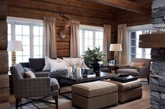 89 Excellent and Cozy Cabin Style Decoration Ideas - Homearchitectur Living Room White, White Rooms, Home And Living, Cozy Living, Living Rooms, Cabin Homes, Log Homes, Cabin Chic, Chalet Chic