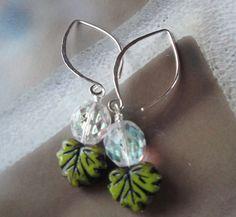 Sterling Silver Earrings Czech Glass Leaves by OceanaireDreamer, $28.00