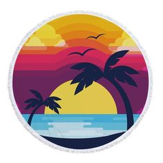 Vintage Sunset Palm Tree Round Beach Towel Tumblr Stickers, Diy Stickers, Printable Stickers, Laptop Stickers, Beach Illustration, Vinyl Record Art, Canvas Painting Landscape, New Sticker, Aesthetic Stickers