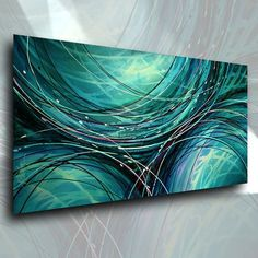 """Original Abstract Design. A single canvas original painting measuring 24""""high x 48"""" wide. Professional quality materials were used in the creation of this art. The canvas is Gallery wrapped acid free cotton, the sides are staple free and have been painted so no decorative framing is needed to displaythem. 