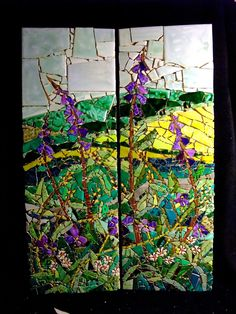 Cornish landscape made with hand painted tiles (private collection) by Caroline Casswell