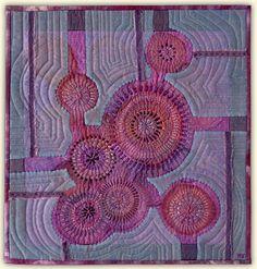 """Berries  ____________________  12"""" x 12""""    hand stitched silk with silk organza hand appliqué"""